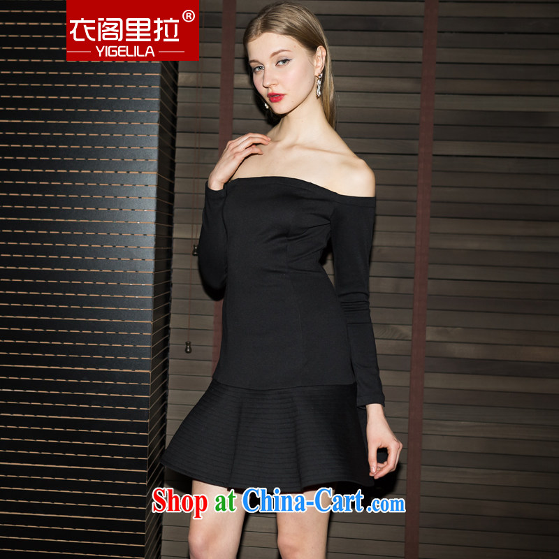 Yi Ge lire autumn long-sleeved bridal toast clothing marriage bridesmaid dress skirt back doors banquet red terrace shoulder evening dress short and Jacob black 6496 XL