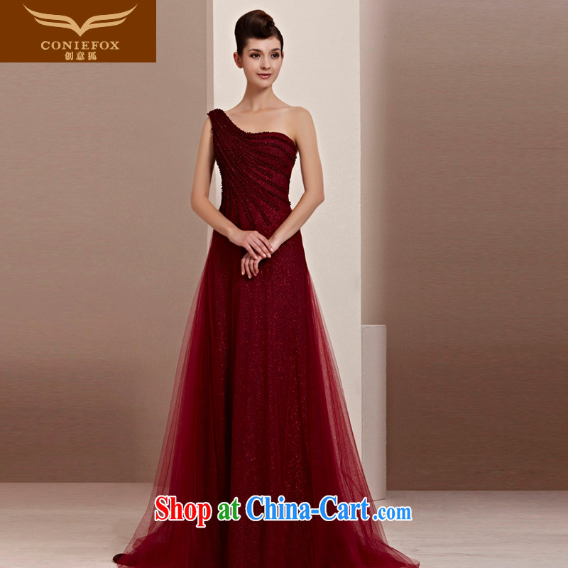 Creative Fox Tuxedo graphics thin dress Red single shoulder bridal wedding dresses wedding dress toast serving long-tail dress hospitality service 30,111 deep red XL