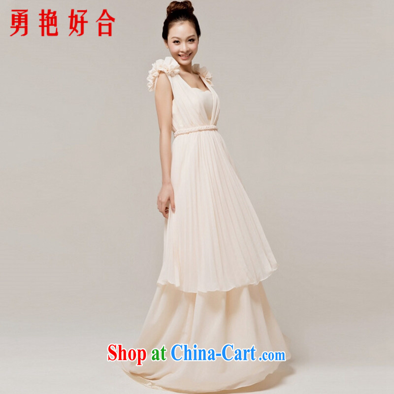 Yong-yan and new 2015 bridal long evening dress retro fashion toast serving small tail winter dress champagne color. size color is not returned.