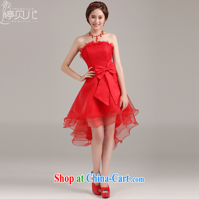 Ting Beverly short before long dress 2015 new spring and summer short bridal wedding dress female Red Korean pregnant women dress uniform toasting red XXL