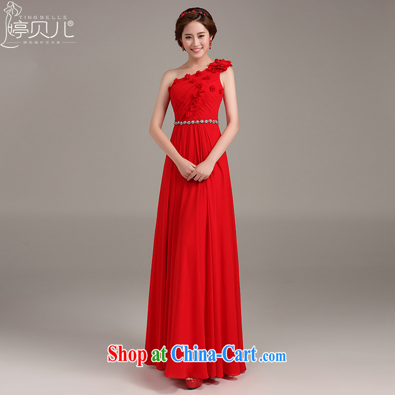 Ting Beverly toast Service Bridal Fashion 2015 New Red single shoulder dress long Toastmaster of the Autumn banquet dress red XXL