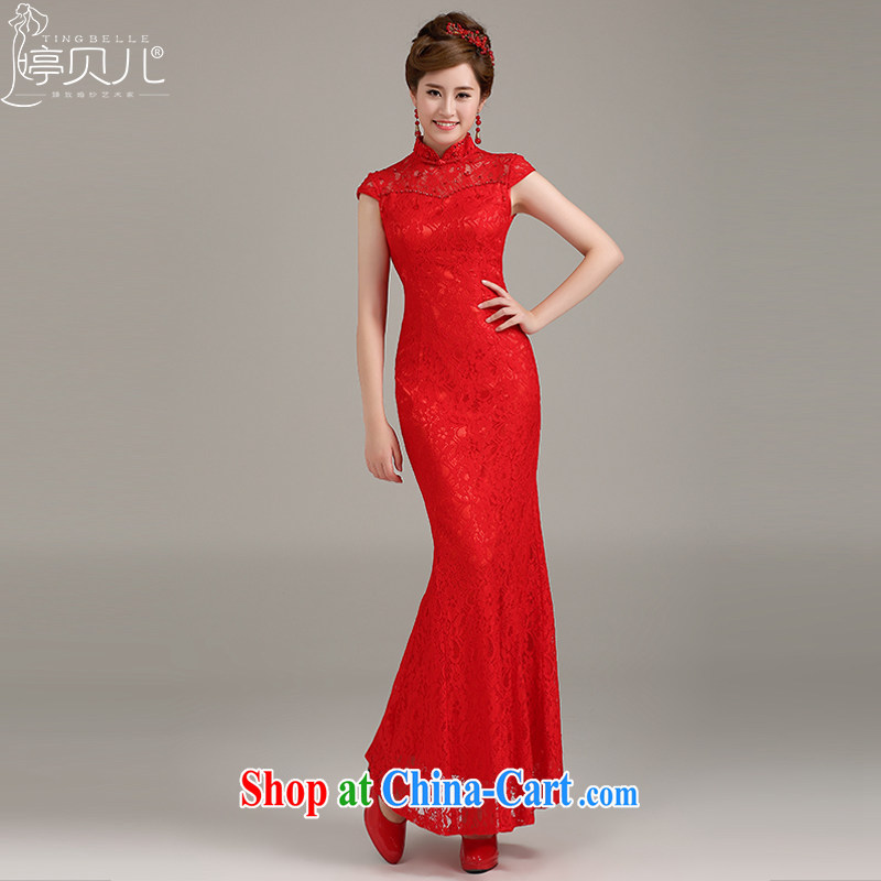 Ting Beverly bridal lace cheongsam crowsfoot toast serving red stylish improved long dresses, dresses for 2015 Spring Summer girls red XXL
