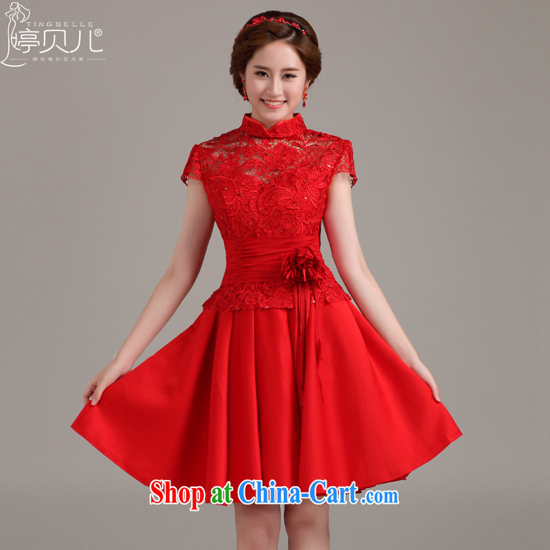 Ting Beverly toast wedding service 2015 New Spring Summer dress new bag shoulder Evening Dress lace beauty graphics thin bridal dresses short red XXL