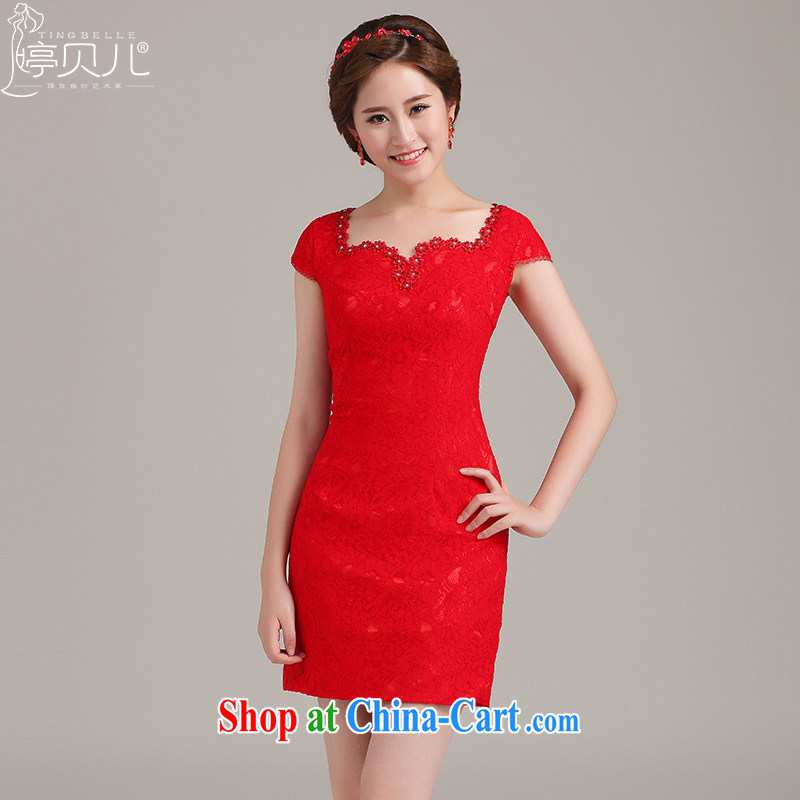 Ting Beverly 2015 new spring and summer wedding red lace dresses bridal short bows dress stylish and improved short-sleeved V collar package shoulder red XXL