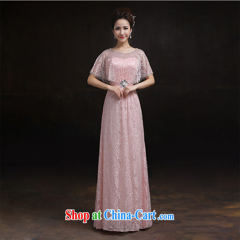 According to Lin Sa 2015 new wedding dress bridal toast clothing Evening Dress pink with shawl lace long dress tailored advisory service