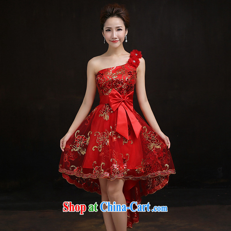 According to Lin Windsor bridal former long serving toast wedding dress Red single shoulder small dress cheongsam dress with tailored consulting service