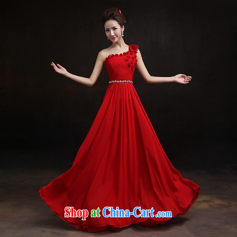 According to Lin Sha Evening Dress 2015 new wedding dress, red, shoulder-length and stylish bride toast with serving moderator tailored advisory service