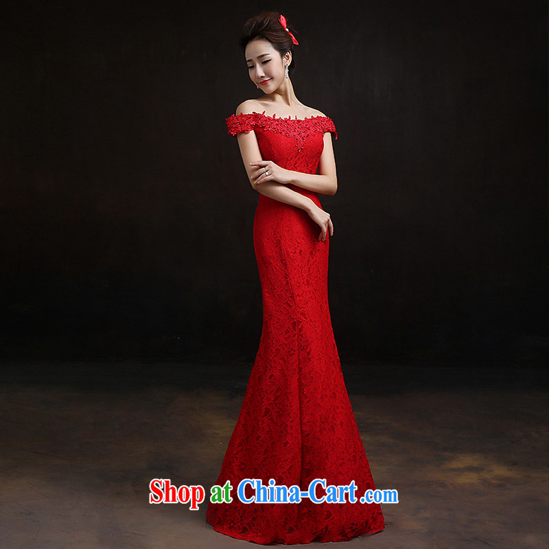 According to Lin Sa 2015 New Red field shoulder at Merlion dress bride wedding toast clothing lace beauty bridal replacing L