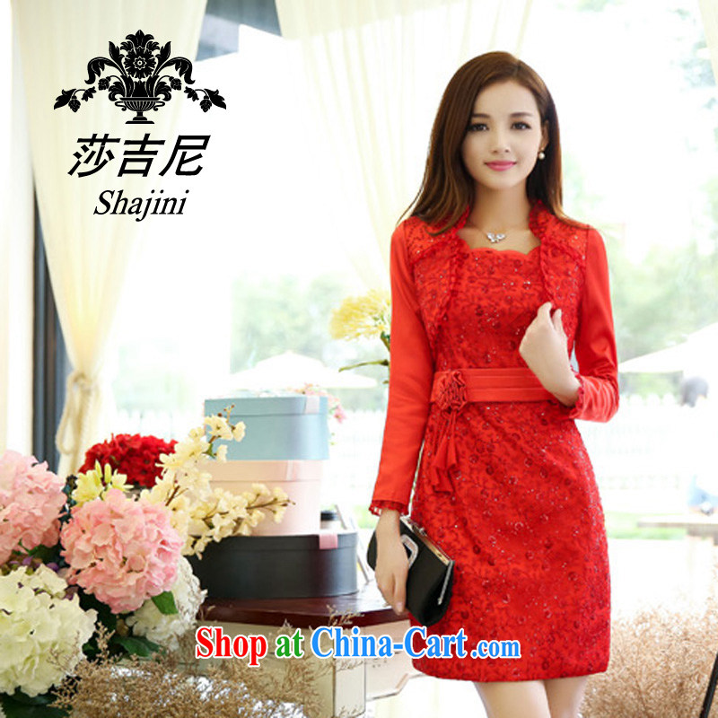Hip Hop and cruise of 2014 new autumn package skirt two piece beauty graphics thin career dresses sexy straps lace home dresses 9958 red XXL