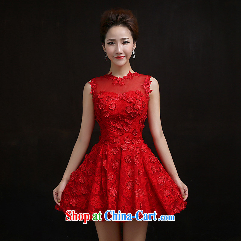 According to Lin Sa 2015 new marriages served toast red manual petals embroidered bridal fitted evening dress short skirt M