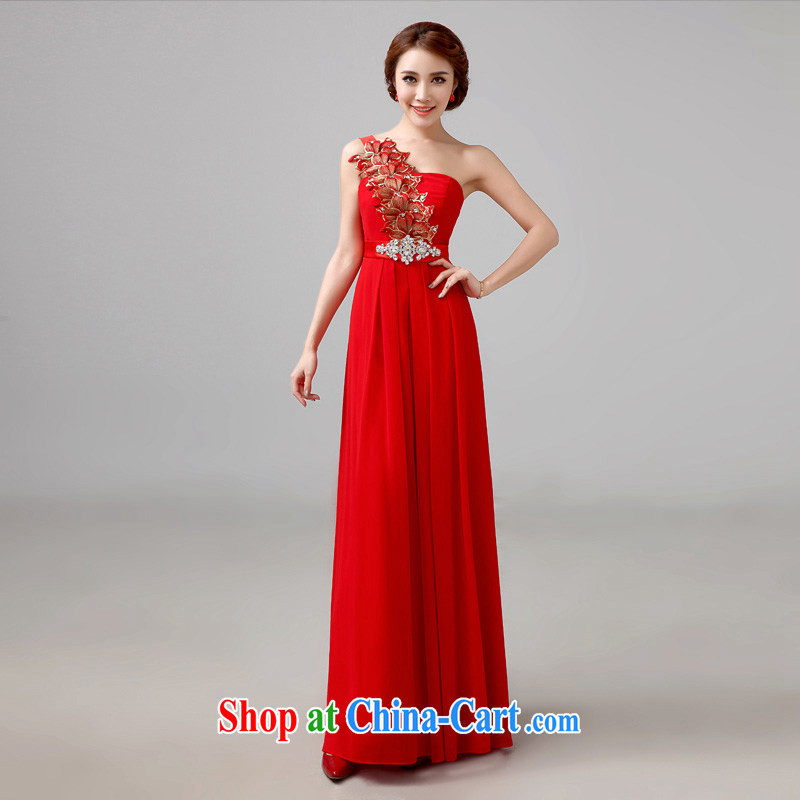 Bridal red bows service 2015 new long evening dress stylish marriage single shoulder bridal wedding toast service tailored advisory service