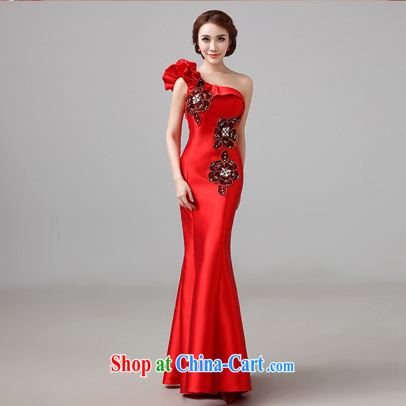 2015 new bridal Red Beauty serving toast long evening dress stylish wedding wedding the shoulder wedding dress tailored advisory service