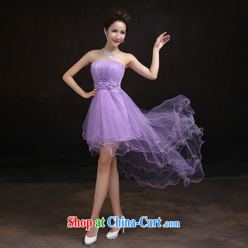 According to Lin Sha bridesmaid summer service 2015 purple stylish short bridesmaid mission Small dress Evening Dress dress sisters B M paragraph