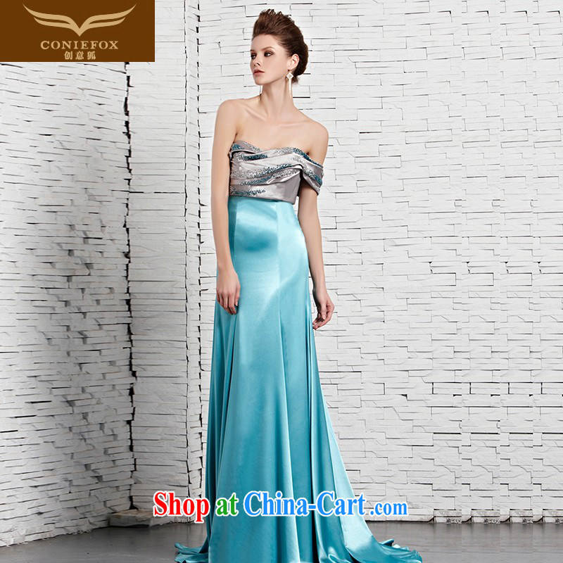 Creative Fox dress sense of bare chest blue banquet dress the Show dress long skirt long-tail dress up show red carpet dress 81,365 picture color XXL