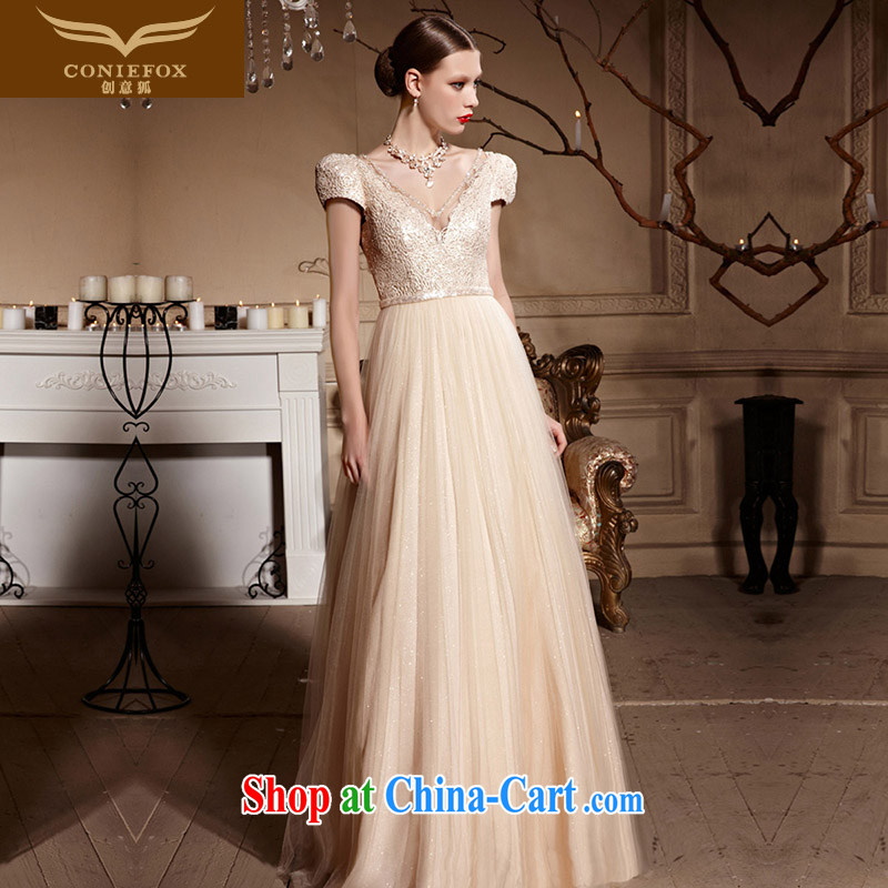 Creative Fox Evening Dress elegant long banquet dress wedding toast clothing bridesmaid wedding deep V Sau San fall evening dress welcome serving 30,611 picture color L
