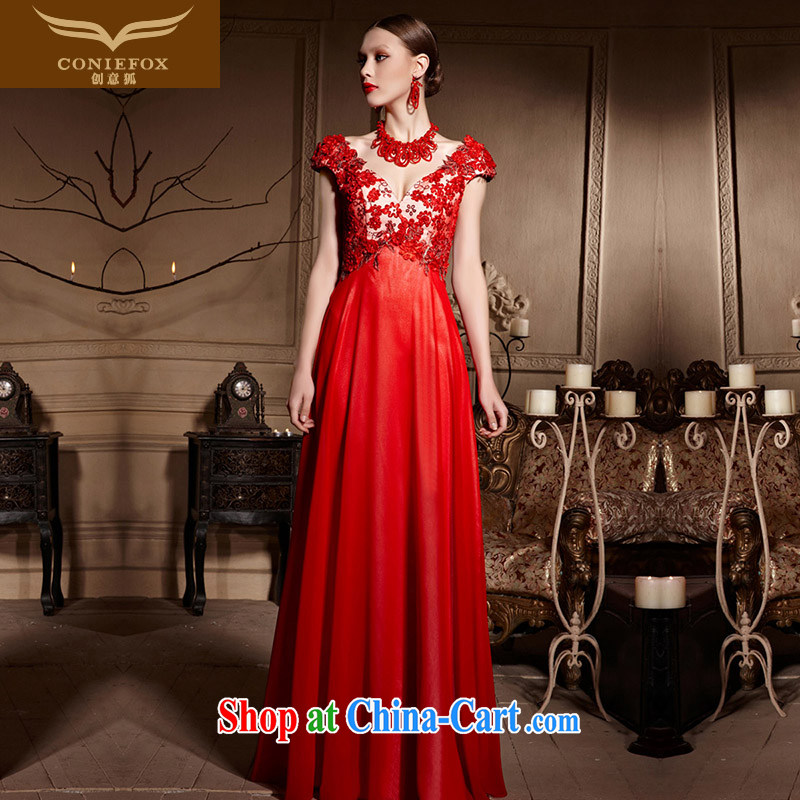 Creative Fox Evening Dress red petal bridal gown sexy shoulders V for wedding toast service beauty long wedding with 30,615 dresses red M