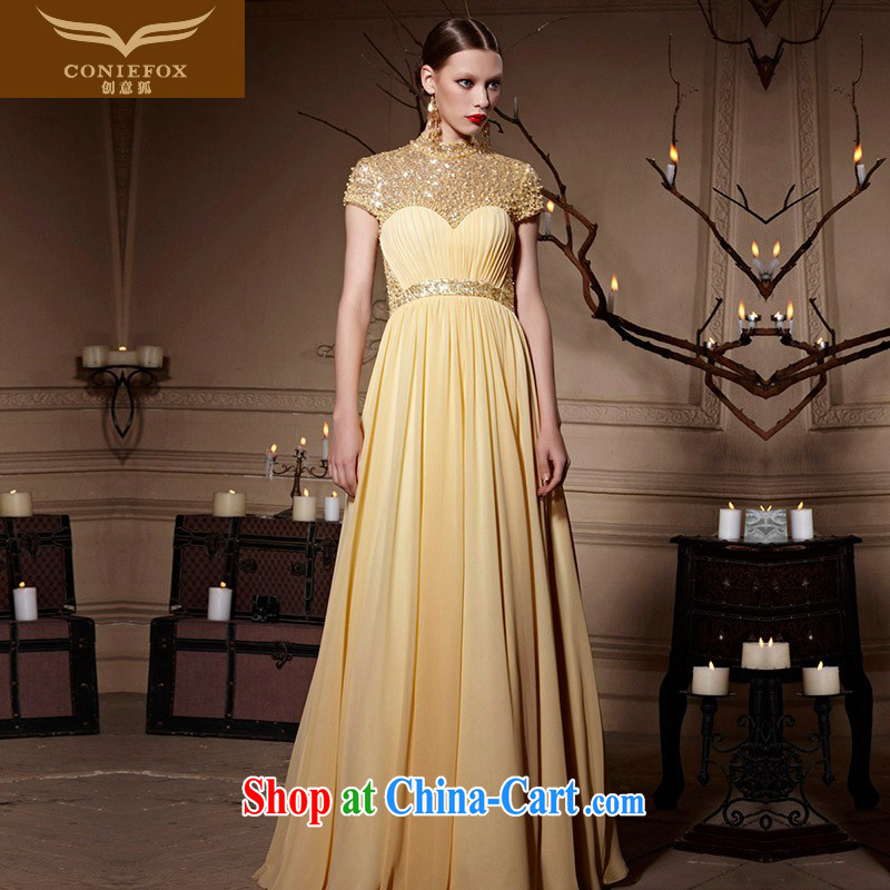 Creative Fox Evening Dress gold, banquet dress beauty long fall dresses the annual dress evening dress uniform toast long skirt 30,620 picture color XXL