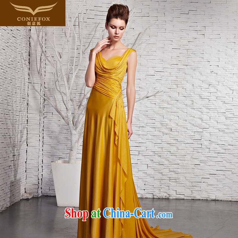 Creative Fox Evening Dress elegant and noble yellow shoulders banquet dress upscale luxury light drill dress graphics thin tail long evening dress 81,383 picture color XXL