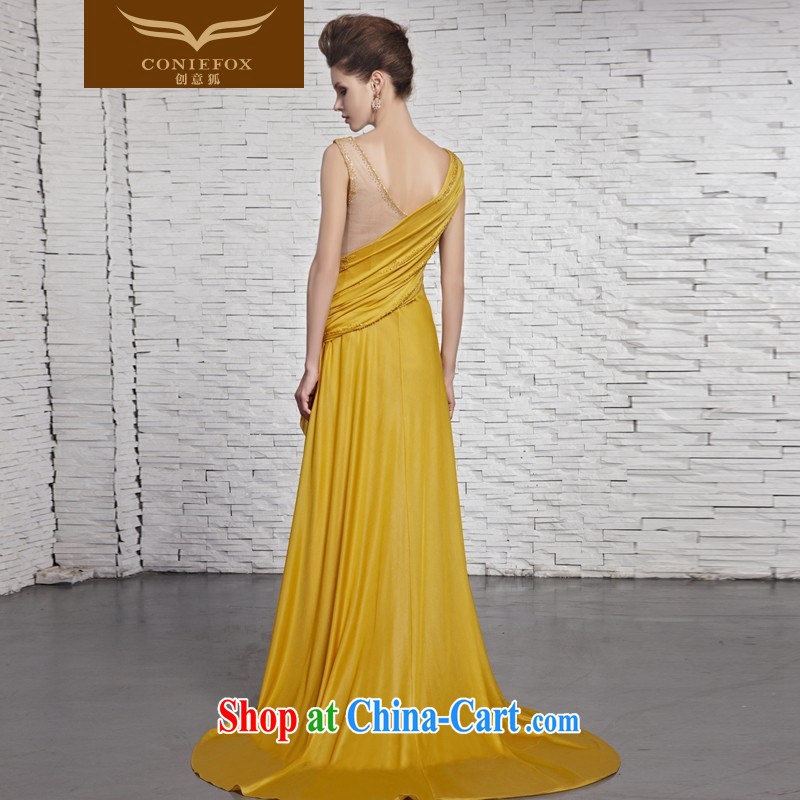 Creative Fox Evening Dress elegant and noble yellow shoulders banquet dress upscale luxury light drill dress graphics thin tail longer Evening Dress 81,383 pictures color XXL, creative Fox (coniefox), online shopping