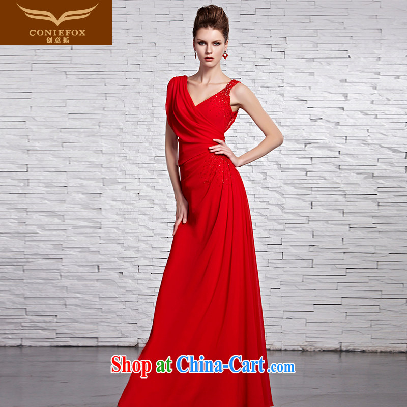 Creative Fox Evening Dress 2015 new chic and sexy shoulders dress Classic beauty dress long skirt red bridal wedding toast serving 81,519 picture color XL