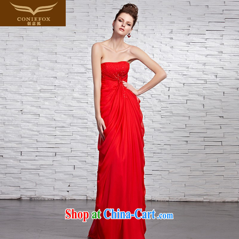 Creative Fox dress sense of bare chest dress dress bridal wedding wedding dresses red toast serving elegant long gown welcome 81,520 picture color XXL