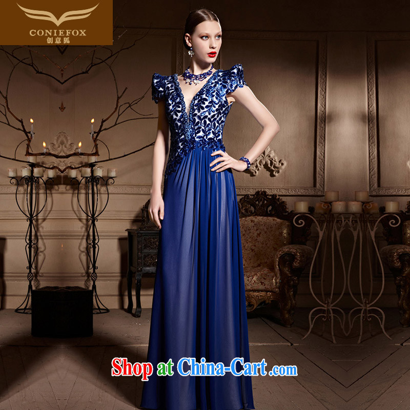 Creative Fox Evening Dress blue ceremonial dress 2015 new V collar long dress banquet toast dress annual dress presided over 30,628 blue XXL