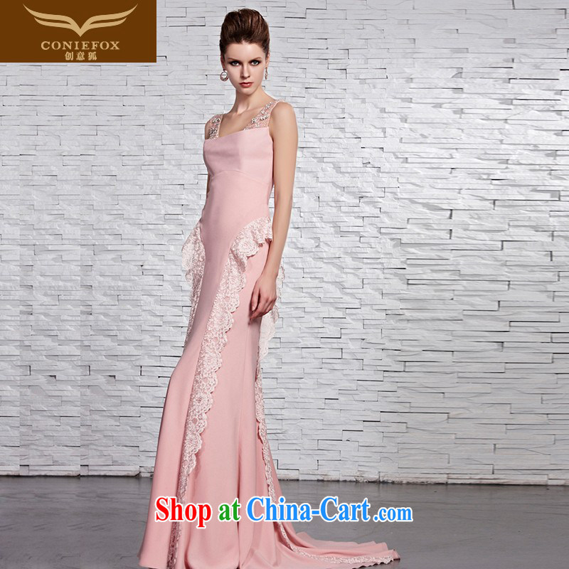 Creative Fox Evening Dress pink shoulders bridal wedding dresses, long-tail wedding dress romantic lace evening dress wedding hospitality service 81,522 picture color XXL