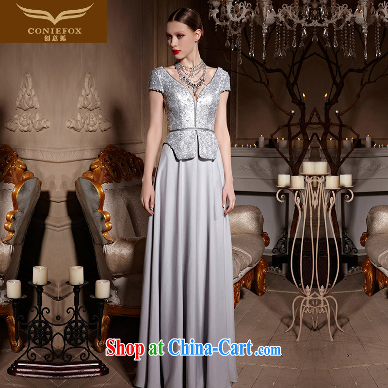 Creative Fox Evening Dress stylish shawl jacket banquet dress V collar silver dress long gown beauty, Evening Dress toast serving 30,630 picture color XXL