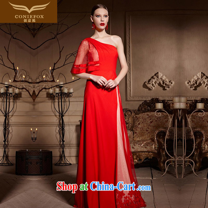 Creative Fox Evening Dress 2015 new bridal Red single shoulder wedding dresses long fall bows evening dress wedding dress dress 30,638 red XXL