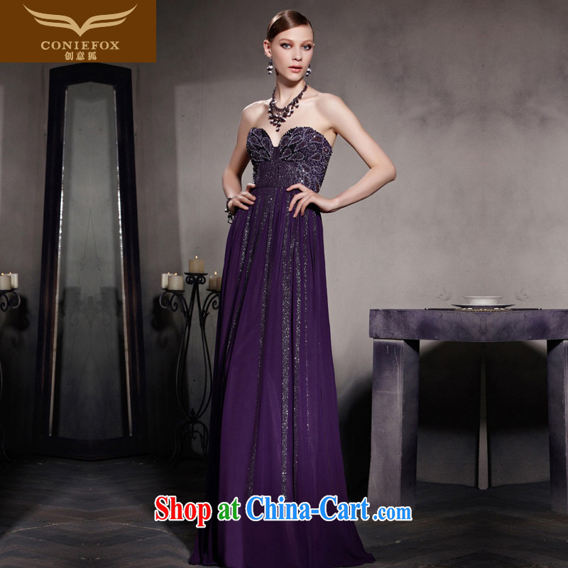 Creative Fox Evening Dress 2015 new purple long gown sexy Mary Magdalene chest evening dress toast service Red Carpet dress graphics thin-waist long skirt 81,559 picture color XL