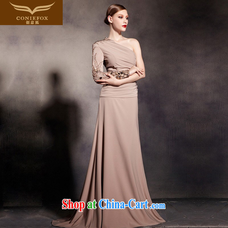 Creative Fox Evening Dress stylish single shoulder long-sleeved banquet dress elegant long-tail dresses the annual dress evening dress toast serving 81,693 picture color L
