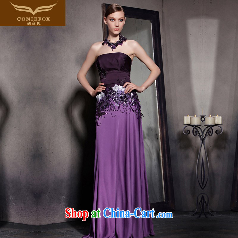 Creative Fox Evening Dress 2015 new purple flowers dress sense of Mary Magdalene chest dress classy chair bows dresses evening dress 81,831 picture color XXL