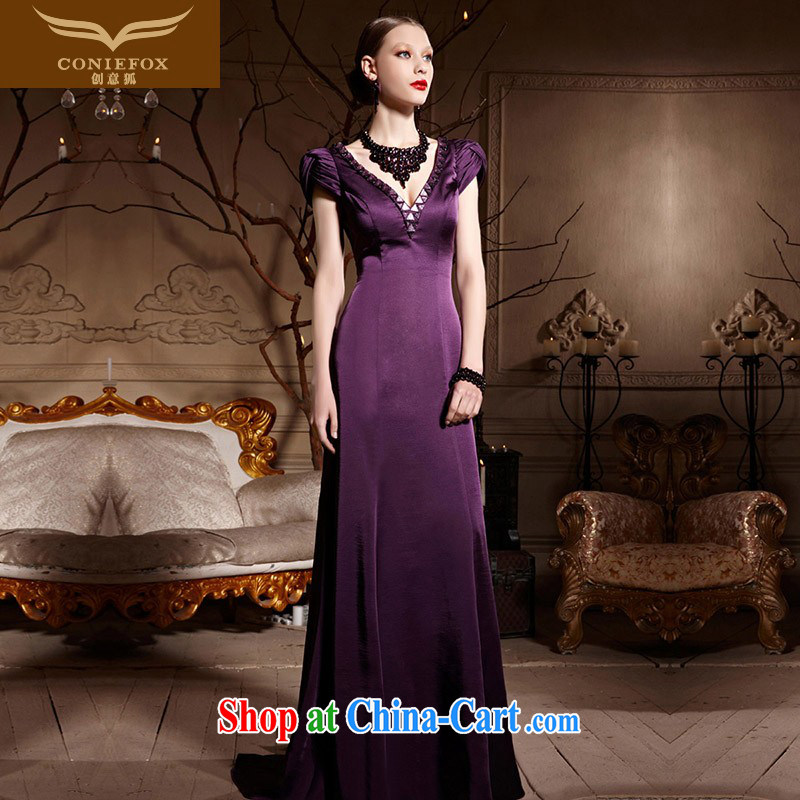 Creative Fox Evening Dress purple package shoulder wedding dress evening dress toast Service Bridal tail dress dress long deep V dress Red Carpet dress 30,652 purple XXL