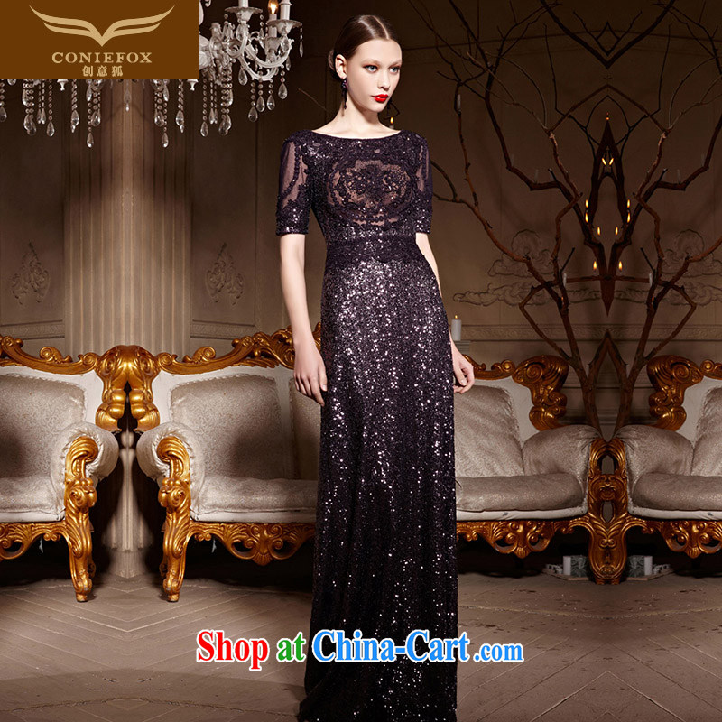 Creative Fox Evening Dress 2015 new purple beauty long dress banquet toast evening dress party dress the red carpet dress long skirt 81,963 deep purple XL