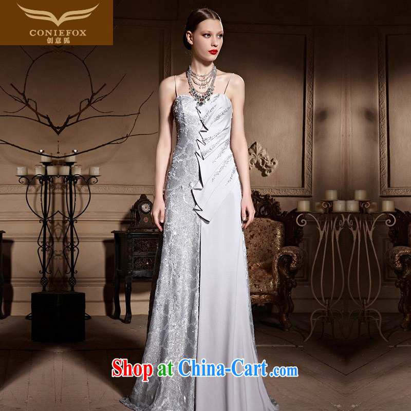 Creative Fox dress wiped his chest long wedding dress upscale, banquet dress bridal tail dress courtesy service evening service toast 81,980 silver XXL