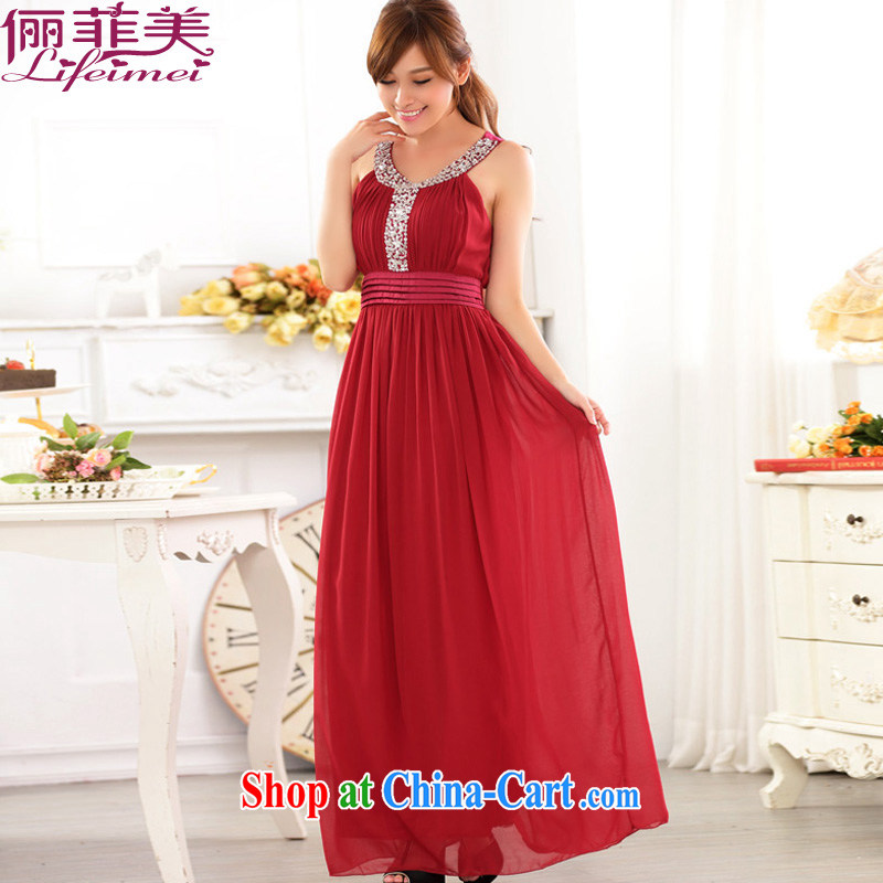 An Philippines and the United States and Europe snow high woven staple Ju-won for high waist-chest shoulder thick mm larger longer Toastmaster of the festive bridal evening dress the hotel hospitality small gift red XXXL