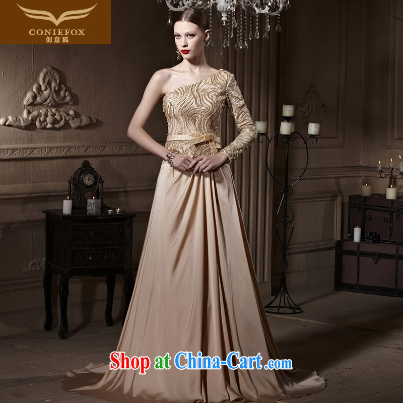 Creative Fox Evening Dress gold parquet drill banquet dress wedding single shoulder dress hospitality service bridal long fall to toast the serving 81,990 dresses picture color XXL
