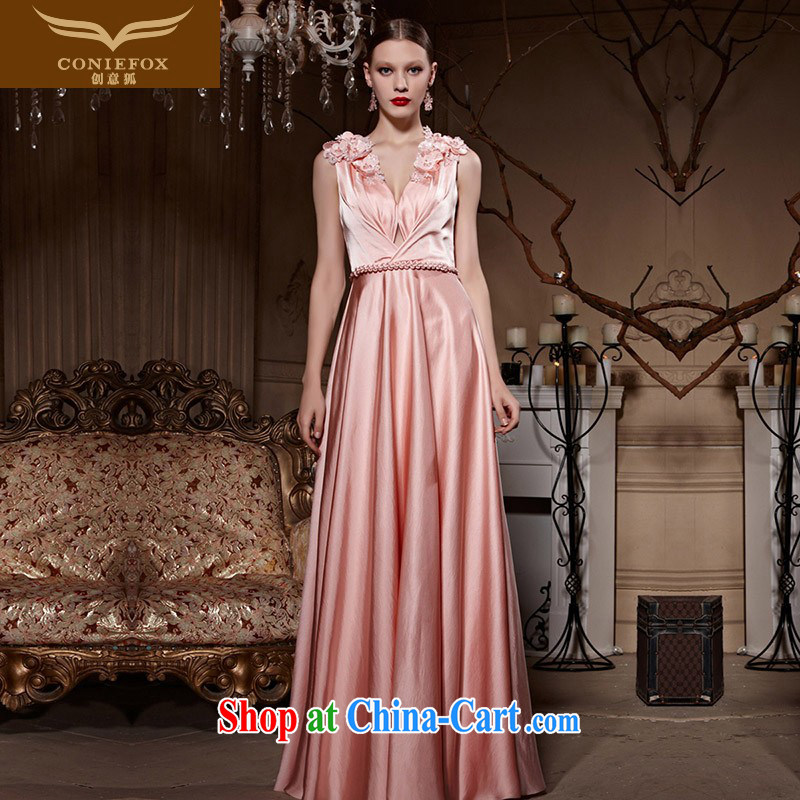Creative Fox Evening Dress pink double-shoulder bridal wedding dress bridesmaid sister's wedding dresses hospitality service banquet long evening dress toast serving 81,995 pink XXL
