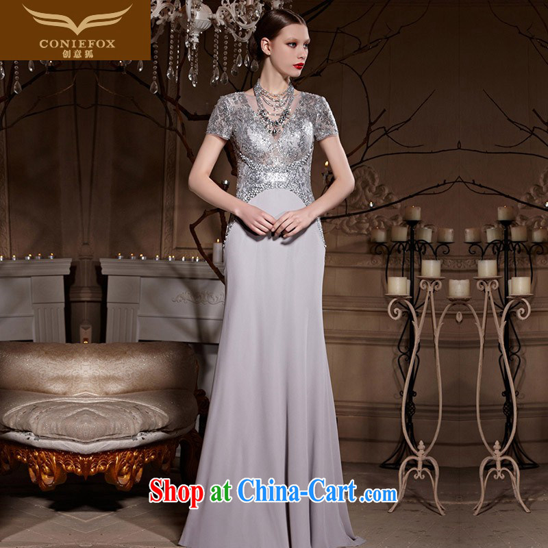 Creative Fox Evening Dress silver, banquet dress upscale evening dress uniform toast long fall annual dress the dress party dress silver 82,002 XXL