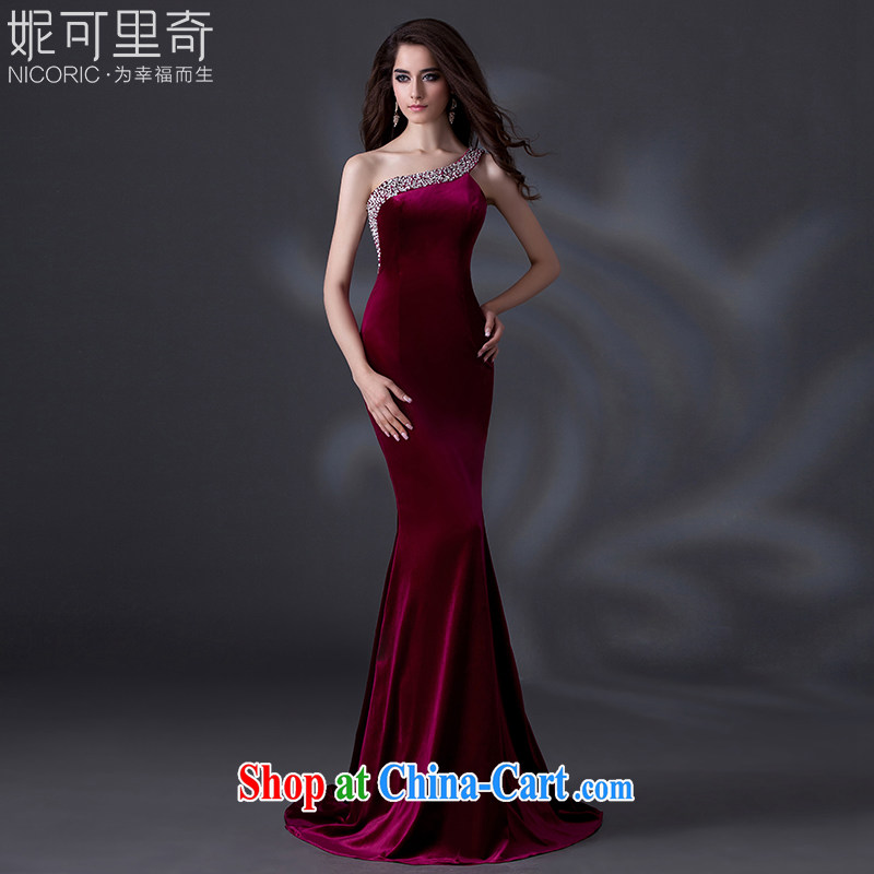 wedding dresses 2015 new spring single shoulder dress Stylish European wine red moderator evening dresses show bride toast serving female long marriage ceremony red Advanced Customization 15 day shipping