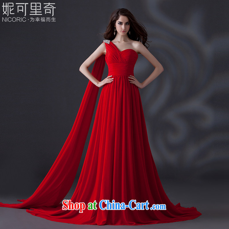 wedding dresses 2015 summer new upscale red dress single shoulder dress bridal dresses serving toast wedding dress banquet dress uniforms dresses annual red Advanced Customization 15 day shipping