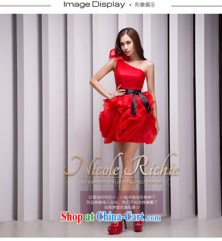 Nicole Richie wedding dresses 2015 new stylish single shoulder dress red dress sister dress small dress short bows service wedding dress red Advanced Customization 15 Day Shipping pictures, price, brand platters! Elections are good character, the national distribution, so why buy now enjoy more preferential! Health