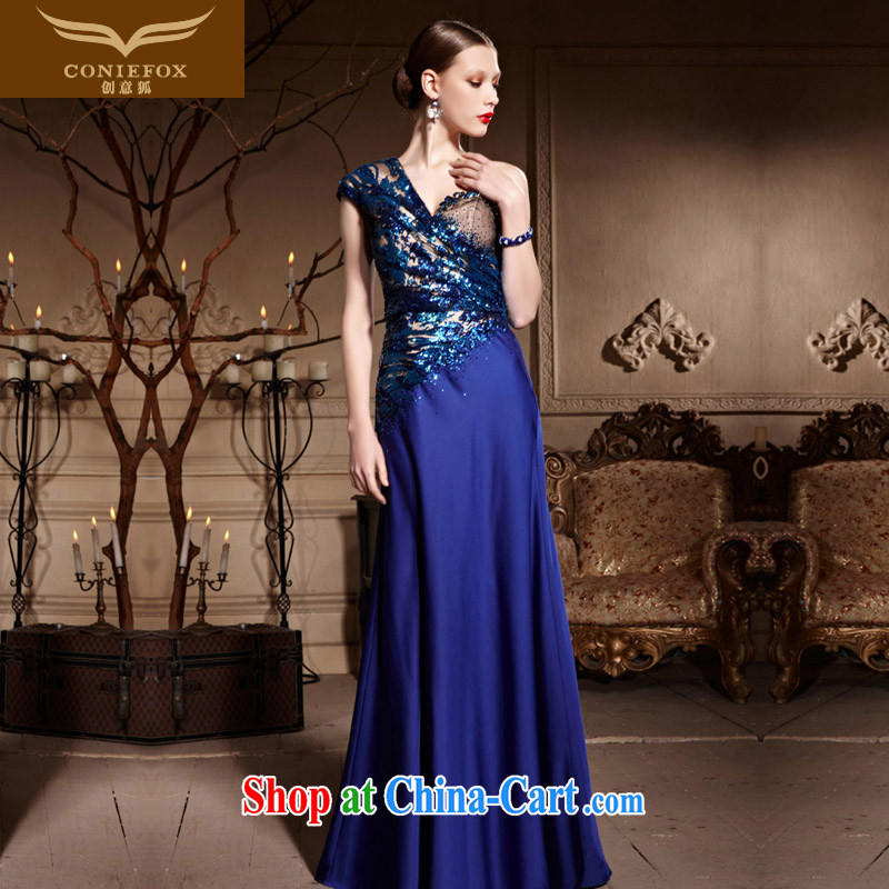Creative Fox dress single shoulder-length, cultivating bows dress classy Blue Chip banquet dress the red carpet dress long skirt 82,026 blue XXL