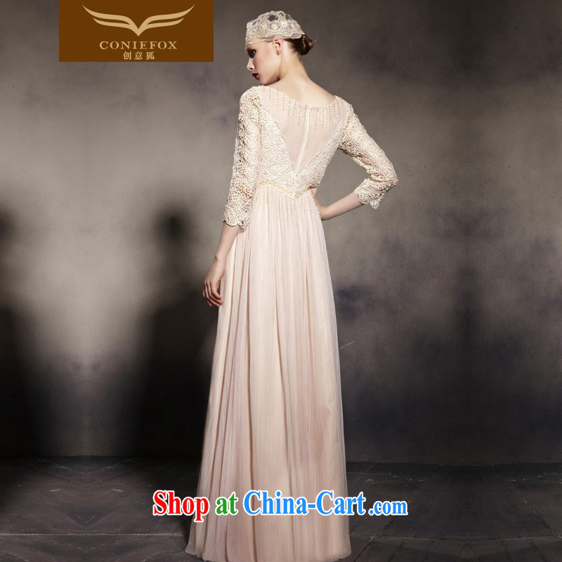 Creative Fox Evening Dress new lace retro dress shoulders fall to dress the annual dress up beauty, 7 cuff long skirt 81,960 pictures is XXL, creative Fox (coniefox), online shopping