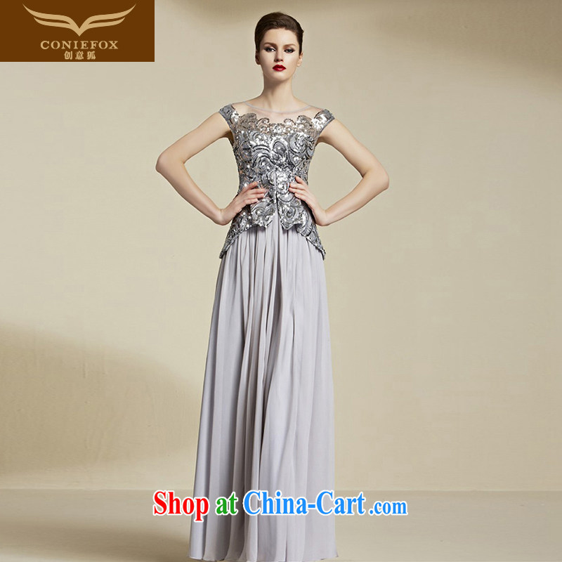 Creative Fox Evening Dress stylish, banquet dress long dual-shoulder beauty dress evening dress uniform toast the dress uniforms 81,955 picture color S