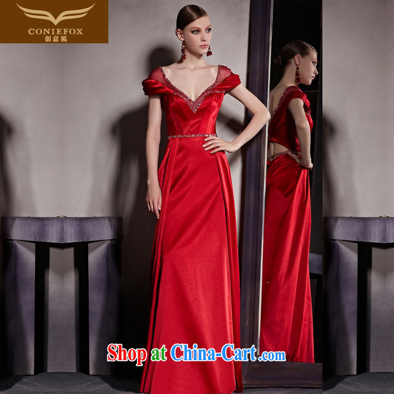 Creative Fox Evening Dress New Red wedding dress deep V sexy evening dress bridal toast serving evening dress long skirt package shoulder fall dress 81,952 picture color XXL