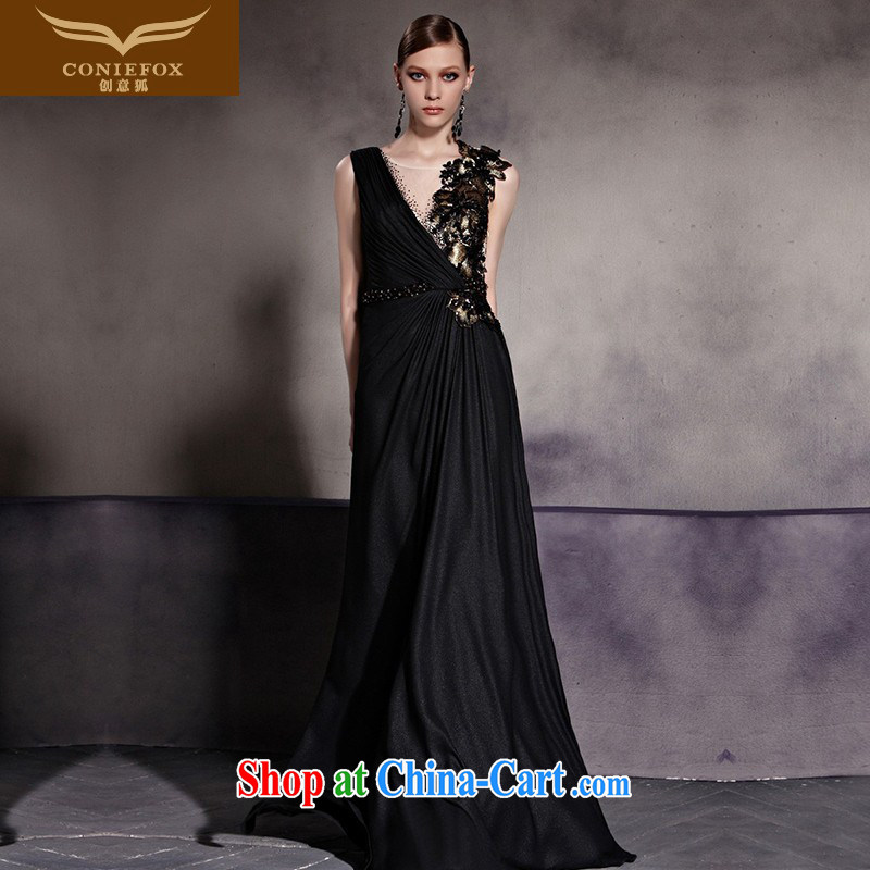 Creative Fox dress new stylish black dress sense of fall dress the Show dress long skirt will show red carpet dress 81,950 picture color XXL