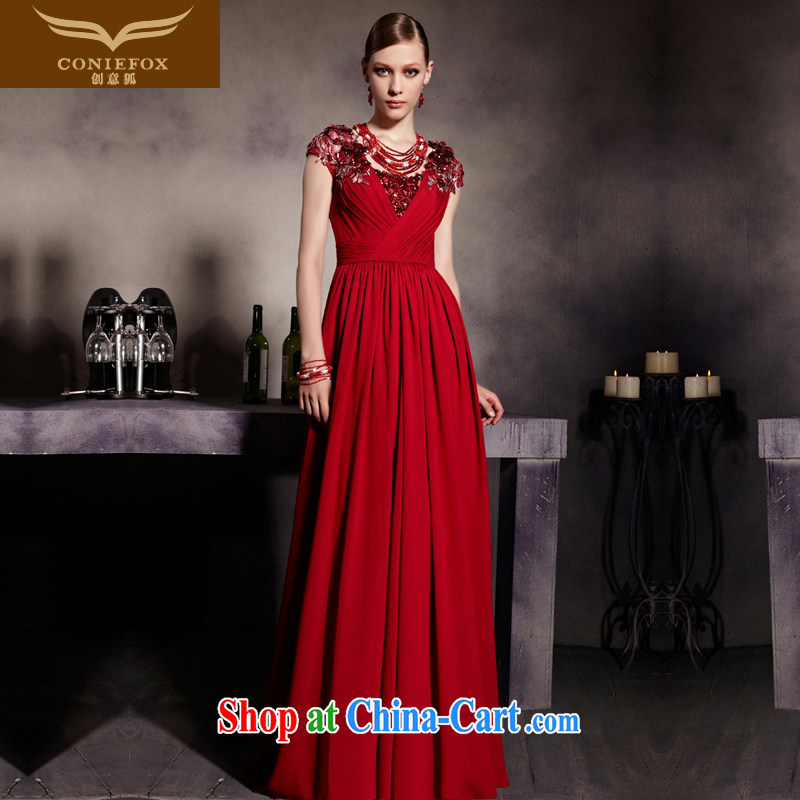 Creative Fox Evening Dress new noble bows dress red package shoulder graphics thin dress bridal wedding dress welcome kit cultivating long skirt 81,939 picture color XXL