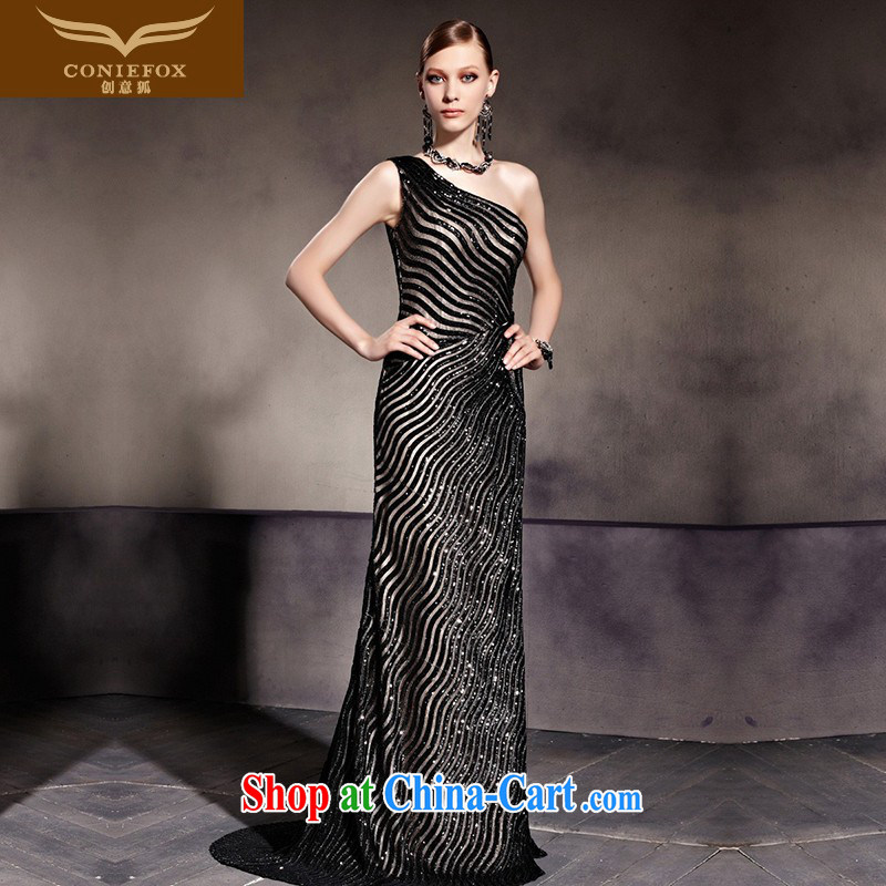 Creative Fox Evening Dress sexy black stylish evening dress single shoulder dress beauty at Merlion dress the dress Red Carpet tail dress 81,936 picture color XXL