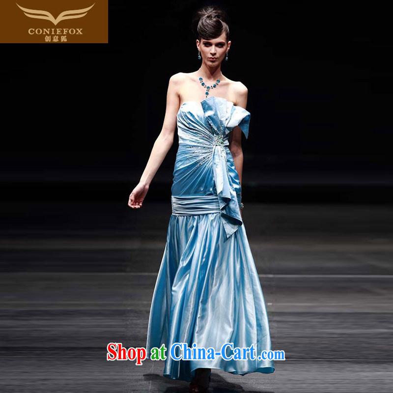 Creative Fox Evening Dress blue towel chest banquet dress sweet Princess dress skirt show hosted service evening service toast dance dress 80,200 picture color XXL